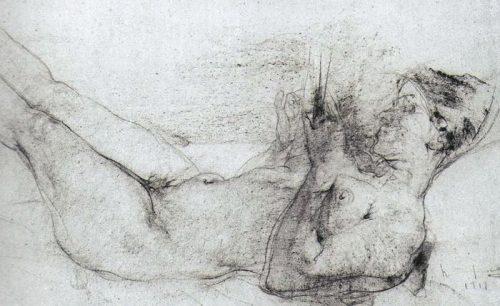 Лежащая натурщица (1919)