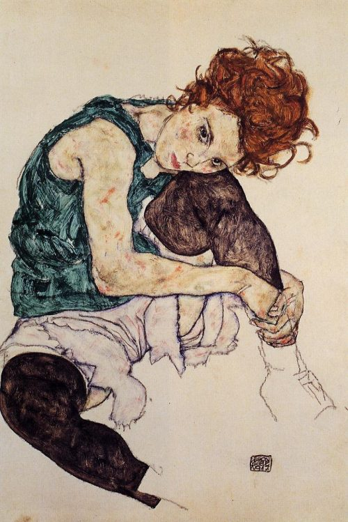 Seated-Woman-with-Bent-Knee-Egon-Schiele-oil-painting