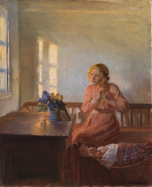 Interiör med ung flicka (beskuren).
