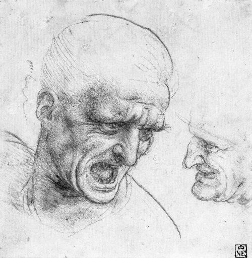Leonardo da Vinci: Två krigare. Huvuden för Slaget om Anghiari.