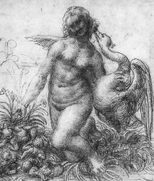 Leonardo da Vinci: Studie för Den knäböjande Leda, ca 1505.