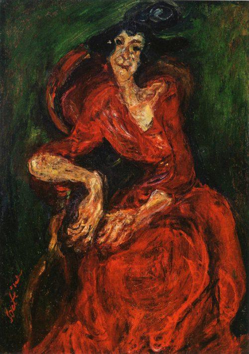 Kvinna i röd klänning, ca 1923-24