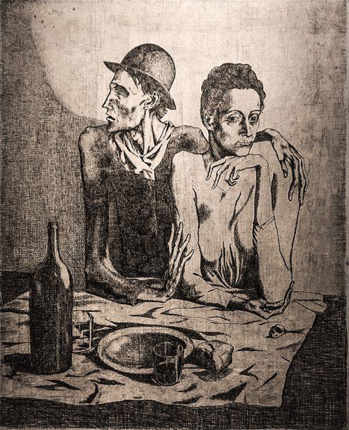 Picasso: Den enkla måltiden, 1904 (etsning).