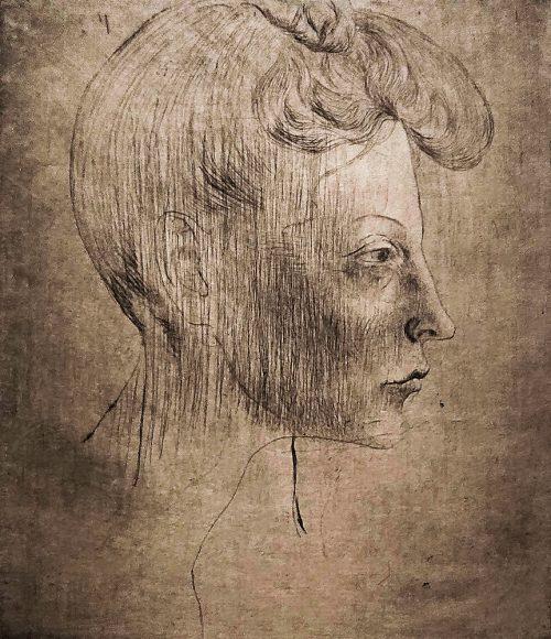 Kvinnohuvud i profil, 1905 (torrnål).