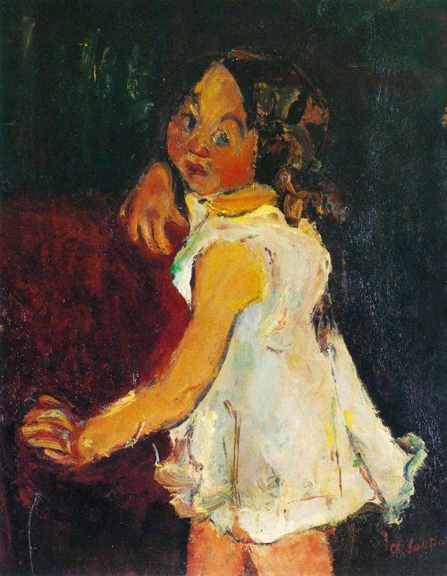 Flicka vid fåtölj, ca 1934-35