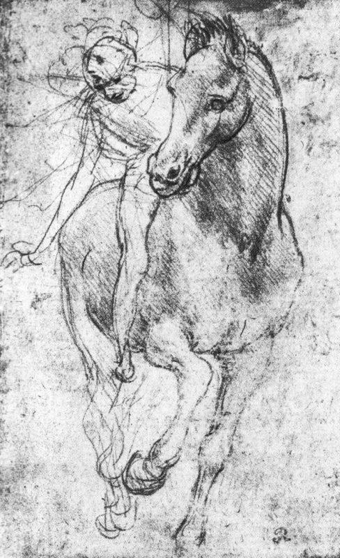 Leonardo da Vinci: Studie av häst och ryttare.