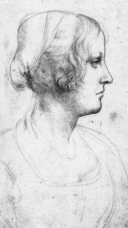 Leonardo da Vinci: Studie av kvinna i profil.